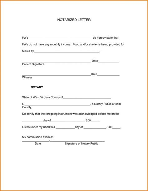 Proof Of Address Letter Notarized Notarized Letter Template Free Premium Templates Forms Sles For Jpeg Png