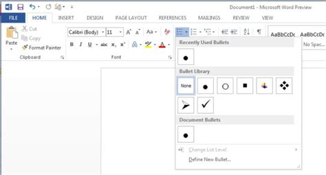 change list s bullet symbol in word 2013