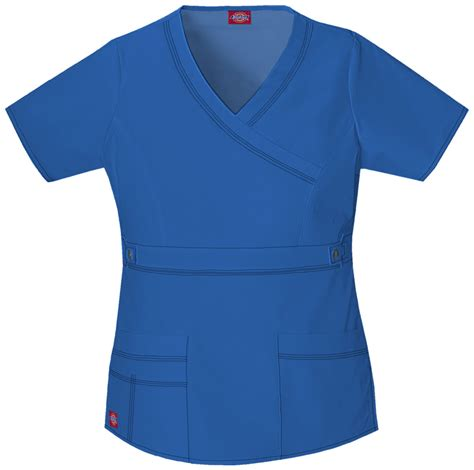 Hq 10445 Set Toppants Pink Blue quot youtility quot mock wrap top in royal from scrubs at