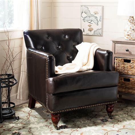 Safavieh Colin Chair by Safavieh Colin Brown Leather Arm Chair Hud8212c The