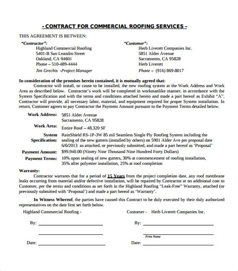 commercial roofing contract template templates resume