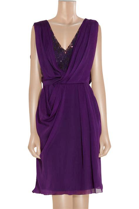 draped chiffon dress matthew williamson embellished lace and draped silk