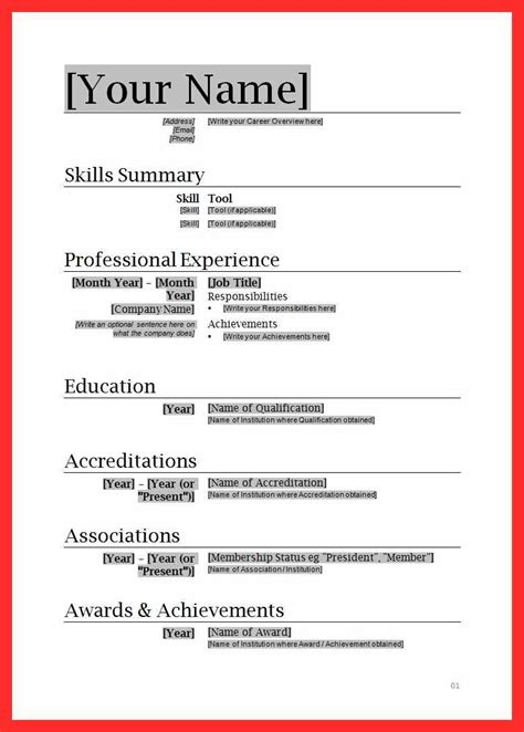 basic resume template microsoft word 2007 cv format in ms word resume format