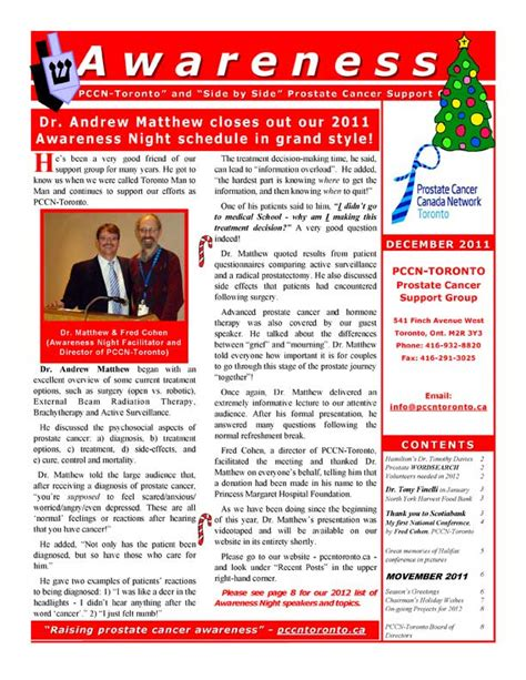 Support Newsletter Awareness The Pccn Toronto And Side By Side Cancer Support Newsletter