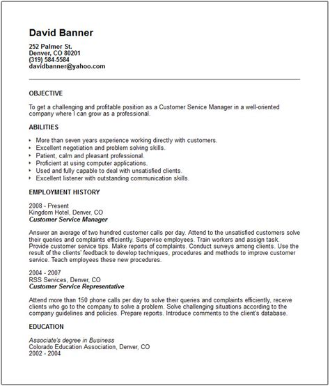 Customer Service Skills For Resume Exles by Customer Service Resume Exle Free Templates Collection