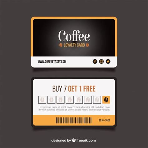 Coffee Loyalty Card Template Free by Vip Loyalty Card Template 45740 Free Vector Stock