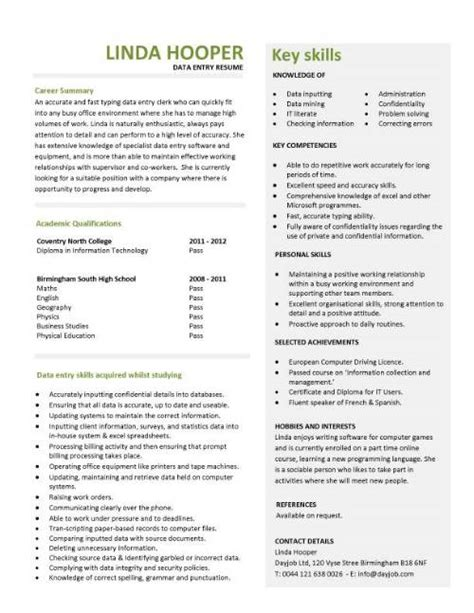 cv exle for data entry entry level resume templates cv sle exles free student college graduate