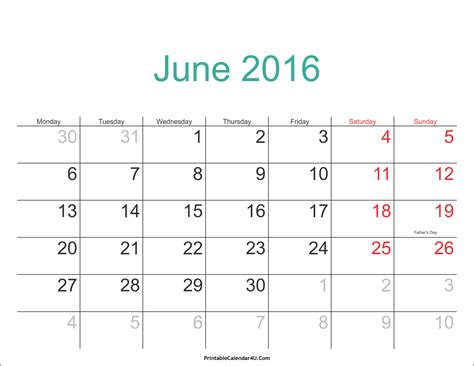 Calendar For June 2016 June 2016 Calendar Printable With Holidays Pdf And Jpg