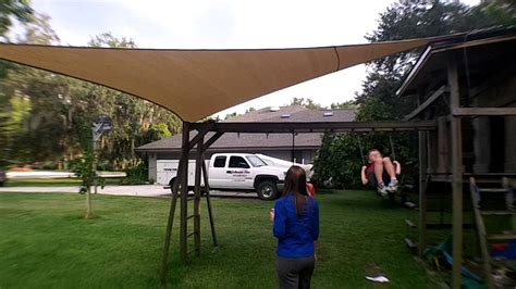 swing set shade great sun shade install over swing set for kids youtube