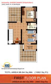 House Design 15 X 60 1062 Sq Ft 3 Bedroom Low Budget House Kerala Home