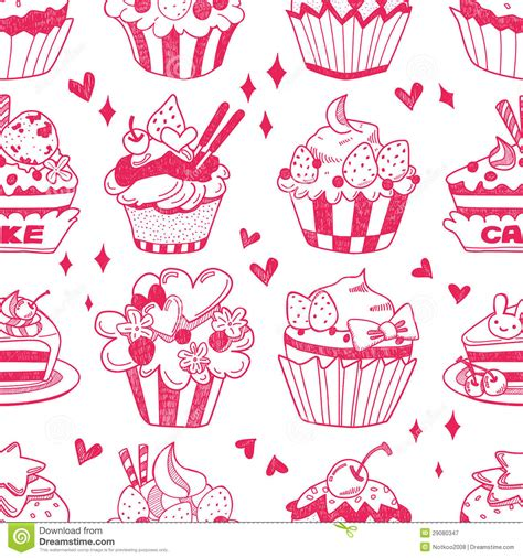 how to make doodle vector seamless doodle cake pattern stock vector image 29080347