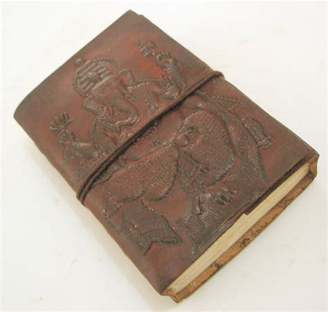Handcrafted Journal - handmade embossed leather journal recycled paper diary