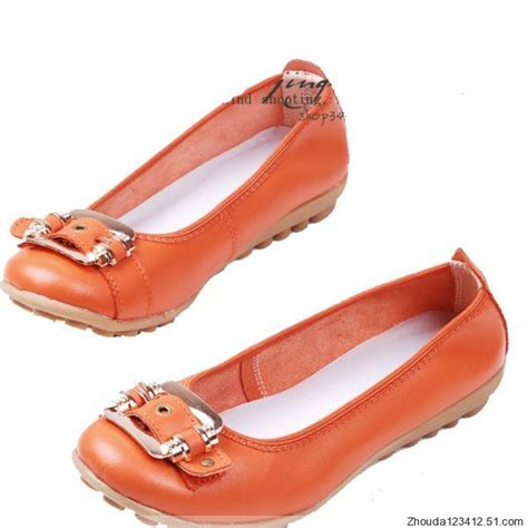 Flat Shoes Anti Licinalas Karet 1 womens mothers leather anti skid shoes ballet flats comfort size us 6 8 ebay