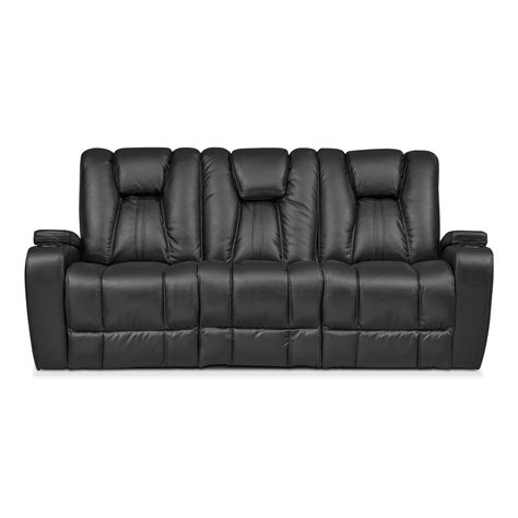 reclining sofa with cup holders pulsar dual power reclining sofa black american
