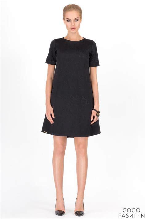 black swing dress with sleeves black short sleeves floral pattern swing dress