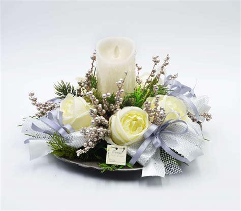 centro tavolo centro tavola tondo bianco con candela a led creazioni