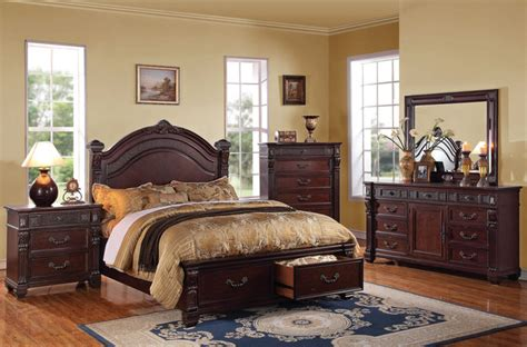 brown cherry wood bedroom set traditional bedroom