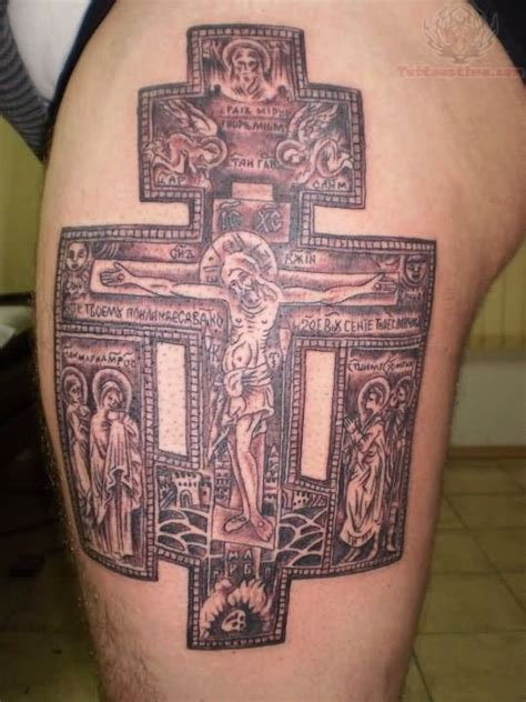 Jesus Tattoo On His Thigh | awesome jesus cross tattoo on thigh