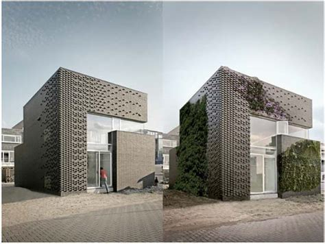 textured front facade modern box home house ijburg textured brick wall facade modern architect