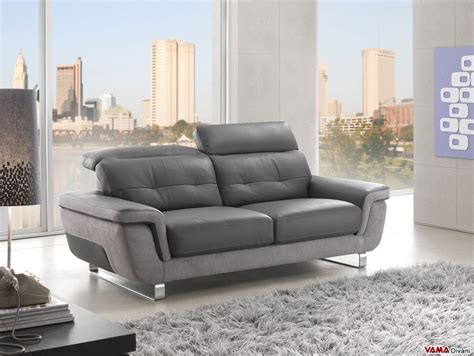 contemporary leather sofa with reclining headrests