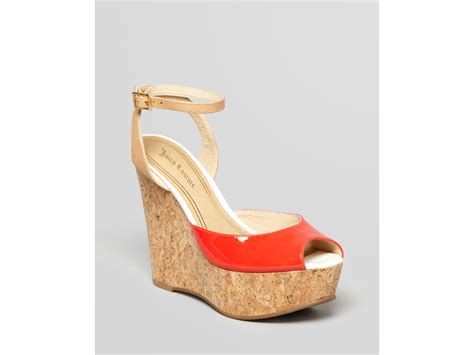 peep toe wedge platform sandals lyst couture peep toe platform wedge sandals dafne