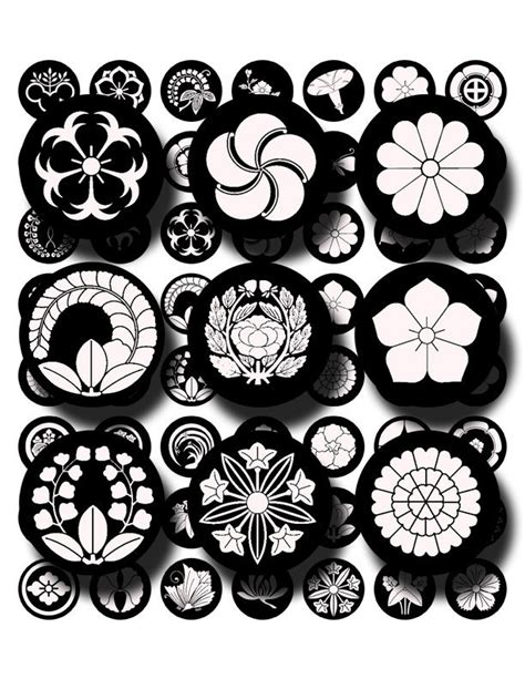 japanese pattern black and white black and white japanese crests flowers asian design digital