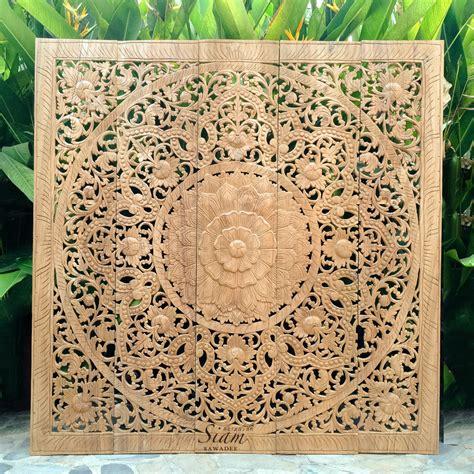 wooden wall hanging carved wall hanging mandala wood panel siam sawadee