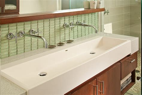 faucet trough bathroom sink gorgeous trough sink in bathroom modern with vanity