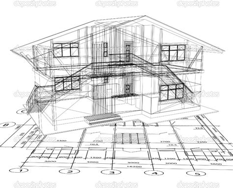 Good Architecture Design Blueprint #6: Depositphotos_4357444-Architecture-Blueprint-Of-A-House.-Vector.jpg