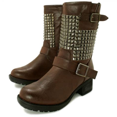 buy jazlyn flat studded biker ankle boots brown