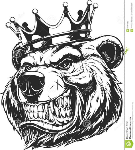 head of a ferocious bear stock vector image 94664162