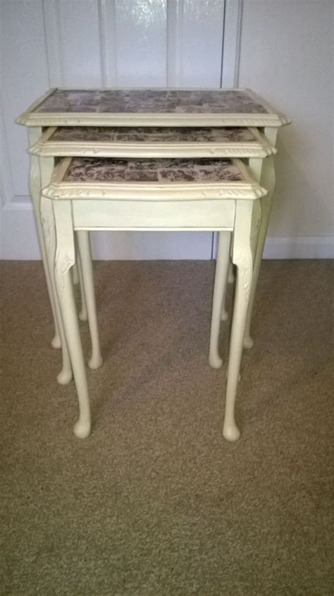 chalk paint glass table looking glass inspired nest of 3 tables decoupage