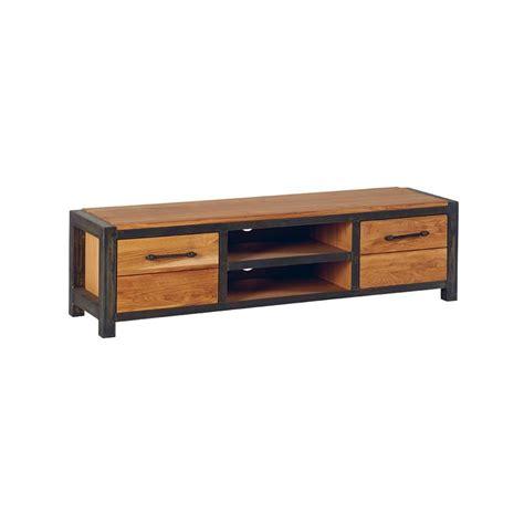 Meubles Chene meuble tv ch 234 ne et m 233 tal 2 portes 150cm ferscott
