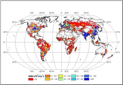 grid pattern water distribution spatial distribution of consumptive water use cwu for