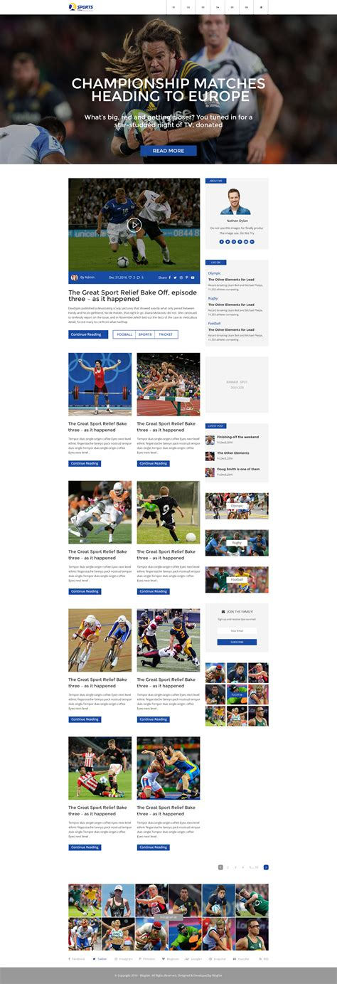 grid layout x theme sports time blog psd template by blogfair themeforest