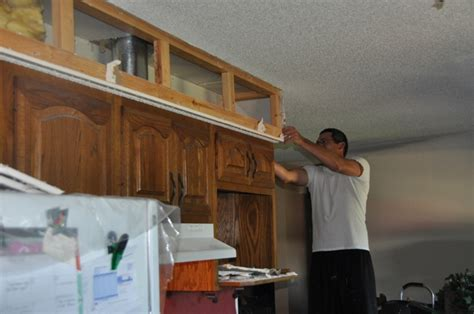 How To Build A Soffit Above Kitchen Cabinets Kitchen Makeover Tearing Out More Soffit Suede Sofa