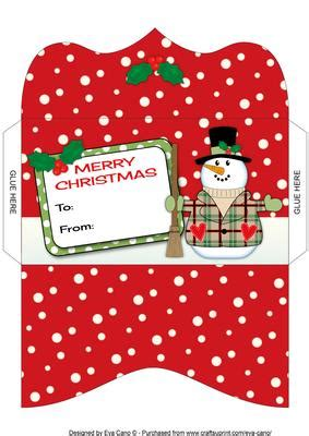 printable christmas gift card envelope snowman money wallet 2 cup581747 750 craftsuprint