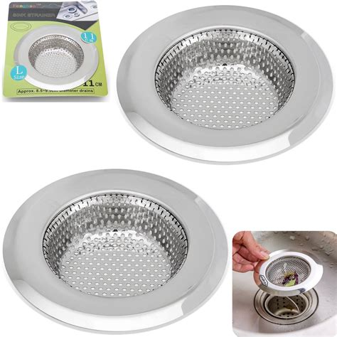 2pcs stainless steel kitchen sink strainer large wide