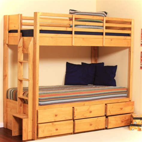 Bunk Beds With Underneath by Furniture Wood Bunk Bed With Storage Drawers