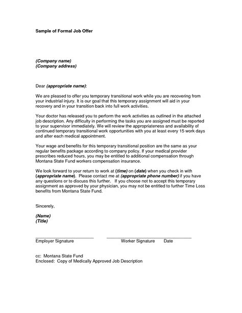 Offer Letter For Employment formal offer letter formal letter template