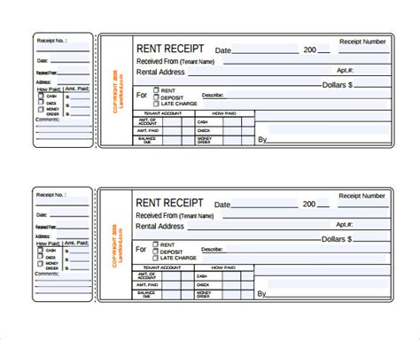 free printable rent receipt template rent receipt template 13 free documents in pdf