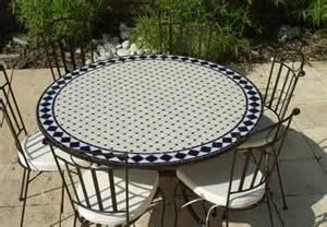 table jardin mosaique ronde 150cm blanc losange c 233 ramique