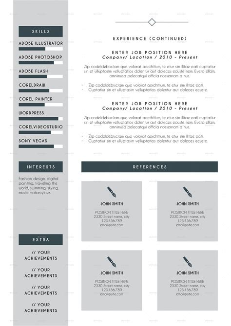 envato resume templates professional resume cv indesign template by