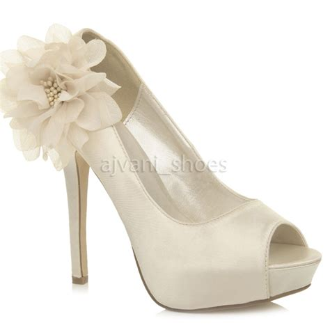 womens wedding heels womens high heel platform peeptoe flower wedding