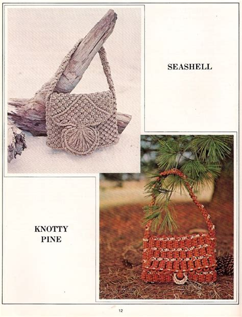 Macrame Purse Patterns - vintage hippie macrame seashell purse pattern in book