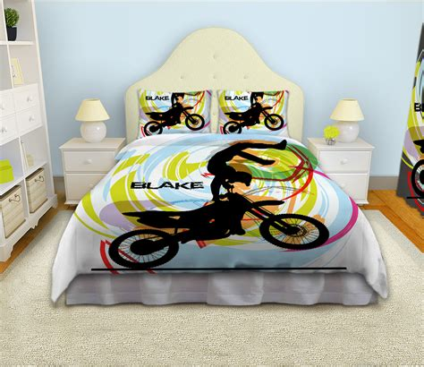 dirt bike bed set motocross comforter for boys white bedding set for sports duvet cover 11 eloquent