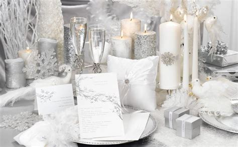 all white and silver winter wedding ideas