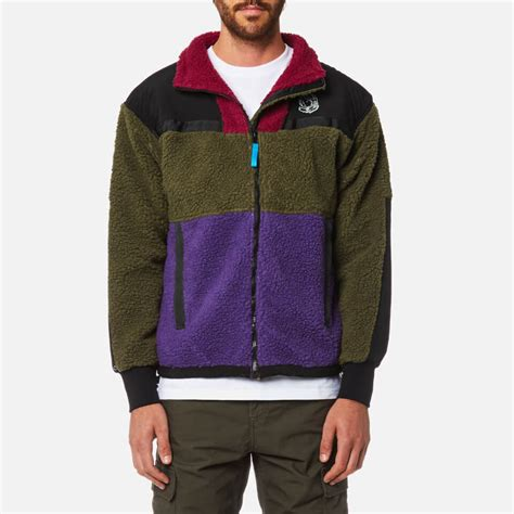 Jaket Zipper Hoodie Sweater Billioners Boys Club billionaire boys club s panelled sherpa fleece zip through jacket green purple free