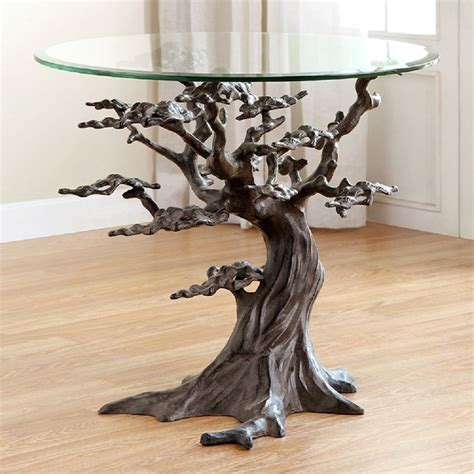 Buy Rustic Home Decor coastal cypress tree metal glass end side table sculpture