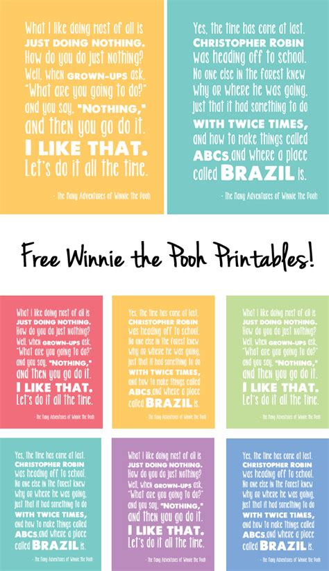 printable pooh quotes 25 winnie the pooh ideas